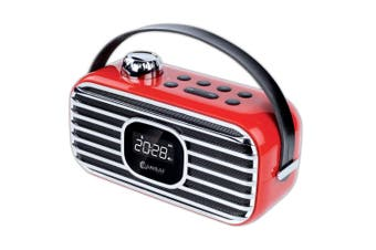 Sansai Classical Bluetooth Speaker-Red FM Radio LED Alarm Clock