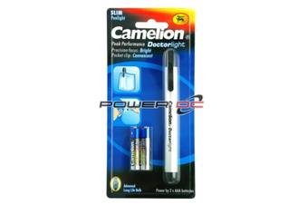 Camelion Aluminium Body Doctor LightPen Torch 2x AAA batteries Push ButtonSwitch