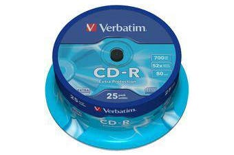 Verbatim CD-R 700MB 25Pk Spindle High Speed 52X Recording Long Archival Life