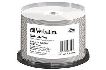 Verbatim DVD and RDL 8.5GB 50PK Wide Thermal Print 8X Higher Recording Quality