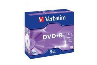 Verbatim DVD and R 16X Jewel 5pk 4.7GB Advanced Azo Recording Dye
