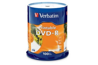 Verbatim DVD-R 4.7GB 100Pk White InkJet 16x Advanced Azo Recording Dye