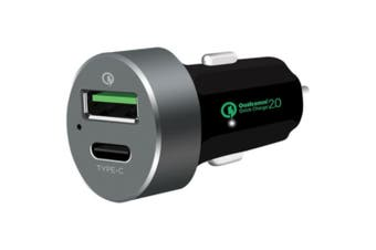 3.0A Car Charger Quick Charge 2.0 USB Type C Port 3.0A max Current black 5v Voltage