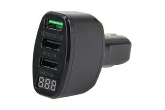Triple USB Charger with QC 3.0 Voltage display indicator 2x 2.1A charging ports