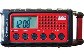 Midland ER300 Multiple Power Source/Emergency Radio Solar/2000mAh/USB/Torch