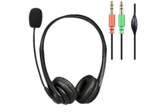 Headset with Boom Mic -2X 3.5MM Plugs with Volume Controller PU leather cups