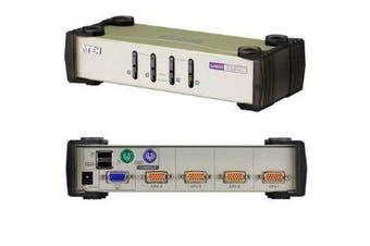 Aten 4 Port USB and PS-2 VGA KVM Switch Video DynaSync Mouse Keyboard Emulation
