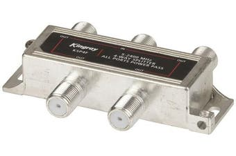 Kingray 4-Way Foxtel Approved Splitter Power-Pass Can be Wall Mounted 1 In 4 Out