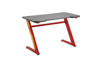 Brateck Z-Shaped Steel Gaming Computer Desk-Red with Adjustable Feet GMD02-1-RED