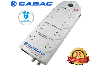 CABAC Surge Protected Phone and Mains Filter Power Board  8 Way 3444 Joule White