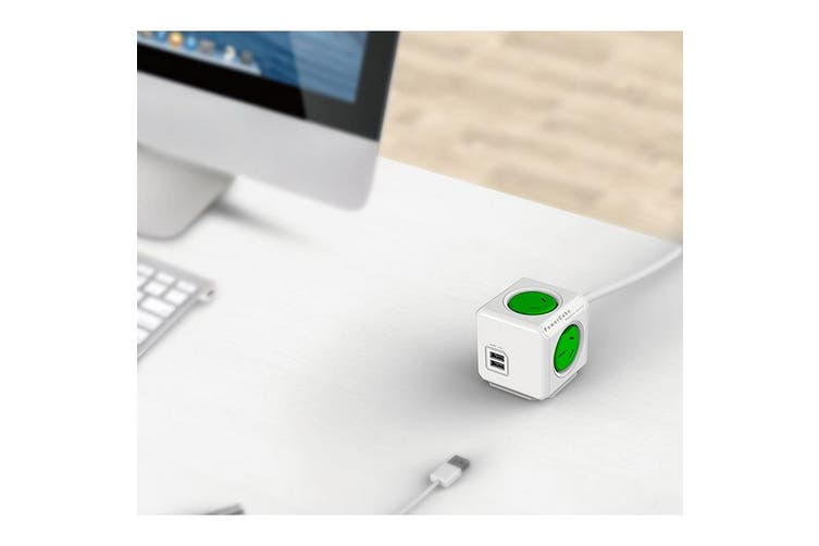 Allocacoc 4 Way Surge Protector With USB Green Powercube Extended USB