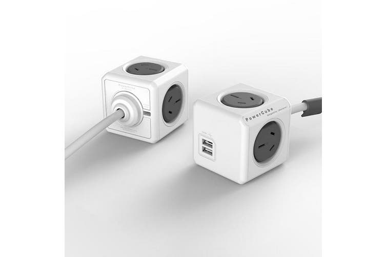 4 Way Surge Protector With USB Grey Powercube Extended USB