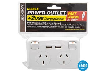 Jackson Double GPO with 2 USB Socket 240V WallPlate Power and Lighting 10A