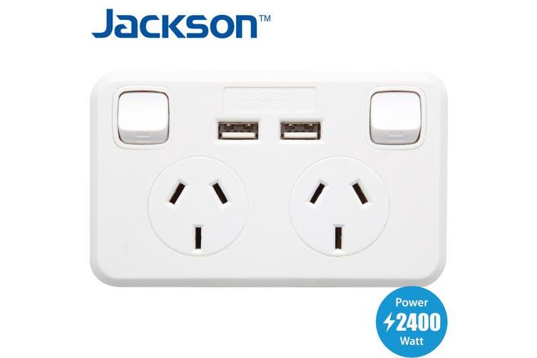 Jackson Double GPO with 2 USB Socket 240V WallPlate Power and Lighting 10A