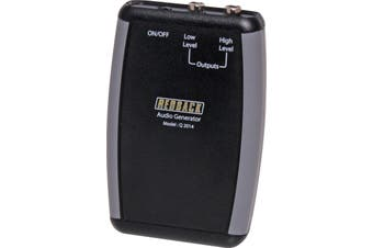 Handheld 1KHz Audio Signal Generator Two output levels are provided, 100mV and 1V. Includes 9V battery
