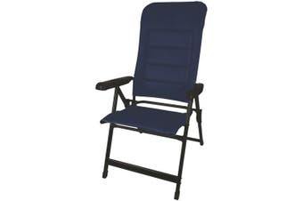 Dark Blue Folding Seven reclining positions Padded Seat Sturdy Metal Camping Chair