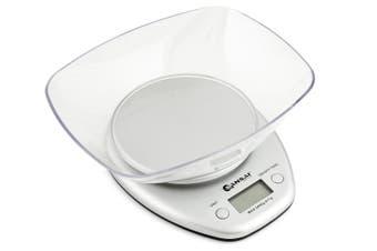 Sansai Digital Glass Kitchen Scale Bowl Cook Measuring White Large LCD Display