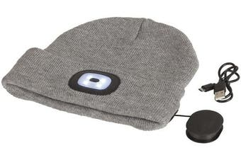 Grey Beanie Bluetooth Speakers LED Torch 3 Brightness Levels 250 Hour Standby Time
