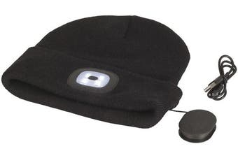 Black Acrylic  Beanie with Bluetooth Speakers and Removeable COB LED Torch