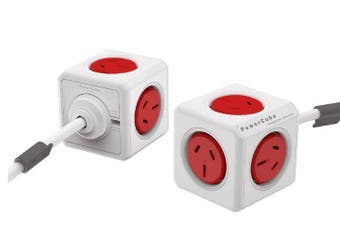 ALLOCACOC POWERCUBE Extended 5 Outlets 3M-Red