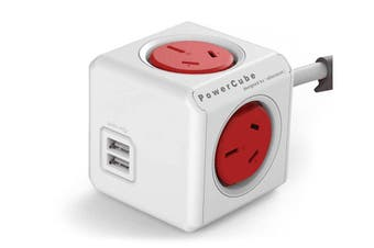 ALLOCACOC POWERCUBE Extended 4 Outlets with 2 USB 3M-Red