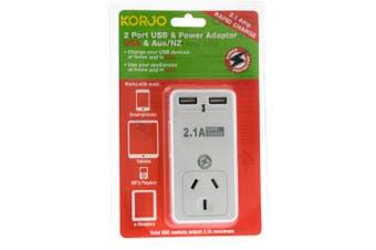 Korjo 2 Port USB And Power Adaptor USA -Australia