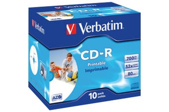 10PK CD-R Jewel Case 52X 80Min / 700Mb