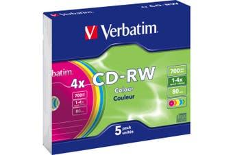 Verbatim CD-Rw 5PK 2X-4X Coloured Slim Case