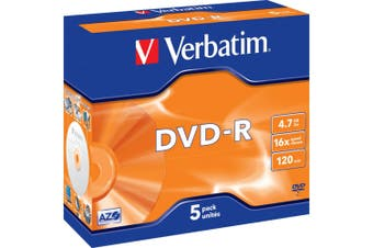 DVD-R 4.7Gb 1-16X 5 Pack Jewel Cases Verbatim