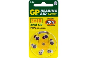 Hearing Aid Battery, 6 Pack Size 10, Pr70, Ac10 - Gp