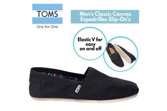TOMS Men's Canvas Epadrilles Alpargata Shoes Slip On Classic - Black
