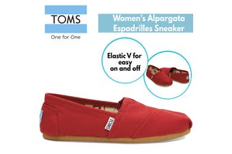 TOMS Women's Alpargata Classic Canvas Sneaker Shoes Espadrilles - Red