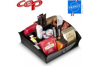 CEP Tea Coffee Storage Home Office Organizer Organiser Distributor Tray - Black