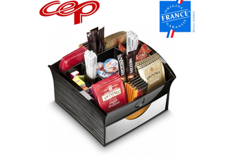 CEP Deluxe Tea Coffee Storage Home Office Organiser Distributor Tray - Black