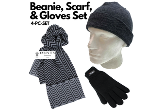 3pc Set Men's Charcoal 100% Pure Wool Fine Knit Beanie Hat Dents Knit Scarf Thinsulate Gloves