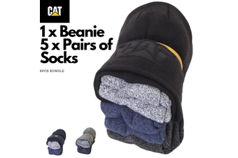 6pcs CAT Beanie & Socks Bundle Pack Caterpillar Warm Winter Kit - Assorted