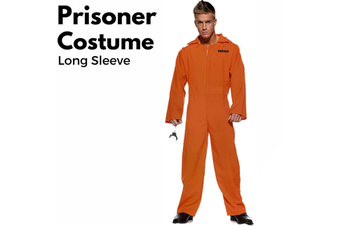 PRISONER COSTUME Plus Size Halloween Jail Convict Adult Outfit Long Sleeve