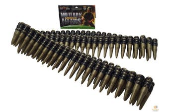 BULLET BELT Plastic Bandolier Costume Party Commando Army Gangster Soldier Ammo Cowboy