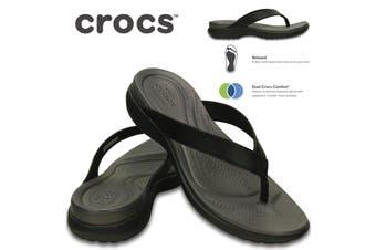 Crocs Women's Capri V Flip Flops Thongs - Black/Graphite