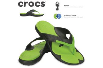 Crocs Men's MODI Sport Flip Flops Thongs - Graphite/Volt Green