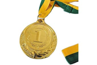 METAL WINNER GOLD MEDAL 1st Party Favours Sports Day 40cm Ribbon - Green/Gold