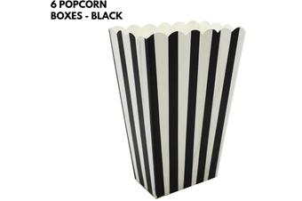 6x POPCORN BOXES Wedding Party Favour Lolly Box Retro Cinema Pop Corn - Black