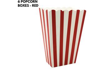6x POPCORN BOXES Wedding Party Favour Lolly Box Retro Cinema Pop Corn - Red