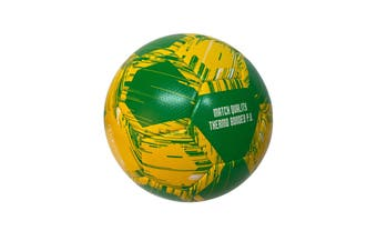 Match Soccer Ball Football Australian Size 5 Beach Thermo Bonded - Green/Gold