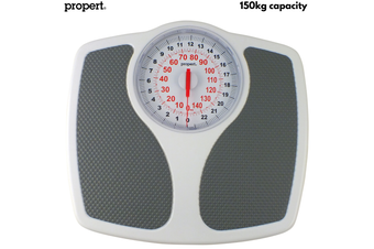 Propert 150kg Mechanical Bathroom Scales Speedometer Analogue - White/Grey