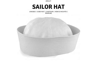 Adult White Sailor Hat Marine Unisex Gob Captain Navy Hen's Night Doughboy Cap