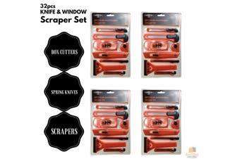 32pcs KNIFE & WINDOW SCRAPER SET Building Tools Box Cutters Spring Knives BULK