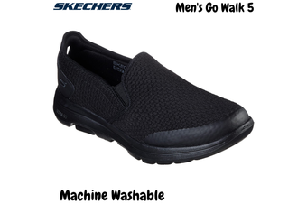 Skechers Men's Go Walk 5 Slip On Machine Washable Sneakers Shoes - Black/Black