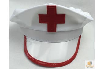 NURSE HAT Sexy Doctor Fancy Halloween Party Costume Accessory Cap - White/Red