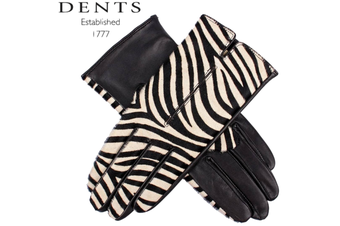 Dents Women's Animal Print Leather Gloves Ladies Winter Warm Acrylic Knit Lining